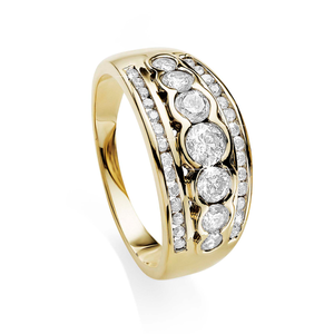 9ct Yellow Gold 1.00ct Tdw Diamond Three Row Dome Ring With Bezel And Channel Setting. (Hi/P12)