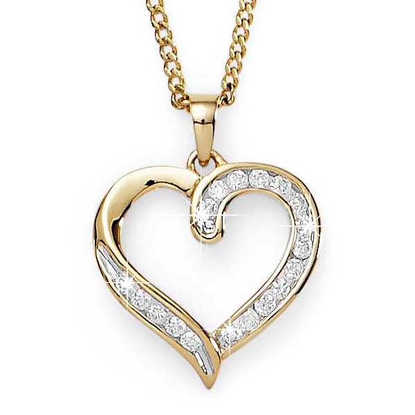 9ct Yellow Gold 0.25ct Tdw Diamond-Set Channel Open Heart Pendant