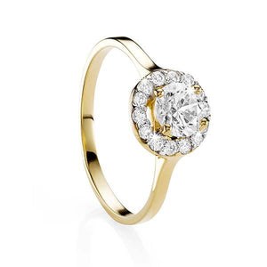 9ct Yellow Gold Claw Set Cubic Zirconia Ring With Halo
