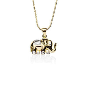 9ct Pave Diamond Set Elephant Pendant