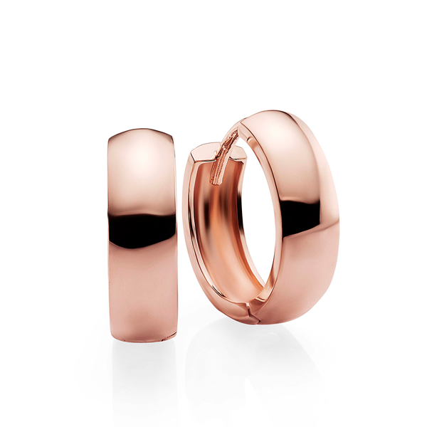 9ct Rose Gold 10mm Diameter 4mm Wide Polished Huggies