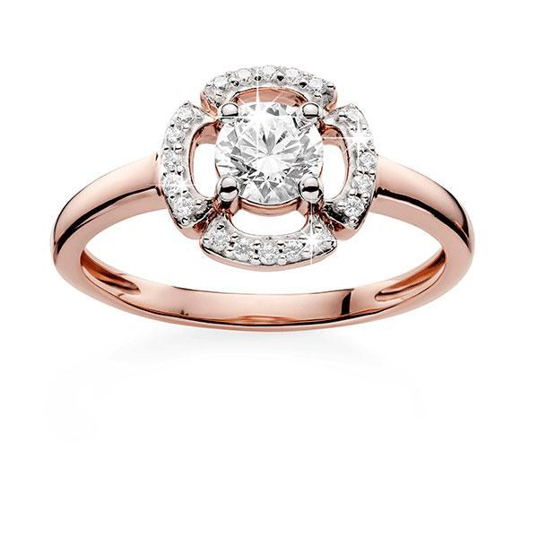 9ct Rose Gold Claw Set Round Cubic Zirconia With Pave Surround Vintage Style Ring