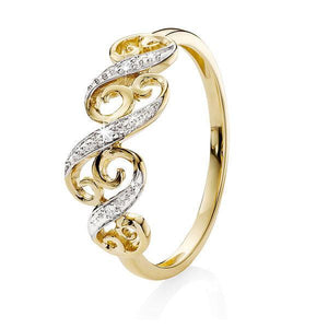 9ct Yellow Gold Pave Diamond Set Filigree Dress Ring
