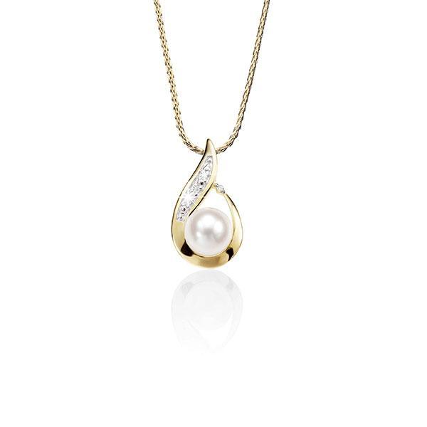9ct Gold Flame Pendant With 7mm Freshwater Pearl And Diamonds