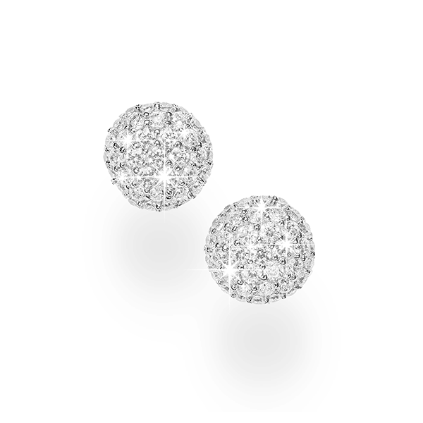 Sterling Silver Pave White Cubic Zirconia Set Button Stud Earrings