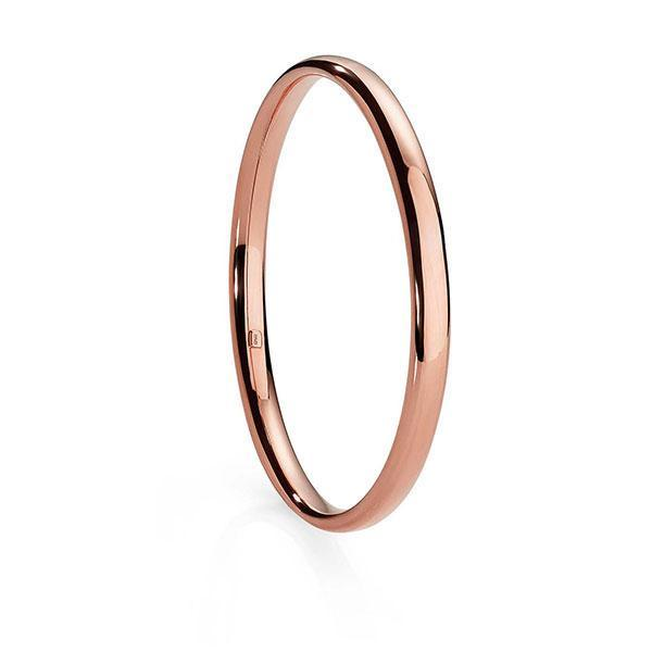 9ct Rose Gold Bonded Silver 6mm Half Round Tube Bangle 65mm Diameter