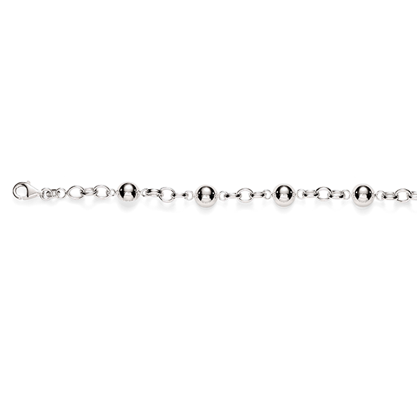 Sterling Silver Hollow Oval Belcher Bracelet With Polished Dome Feature Links