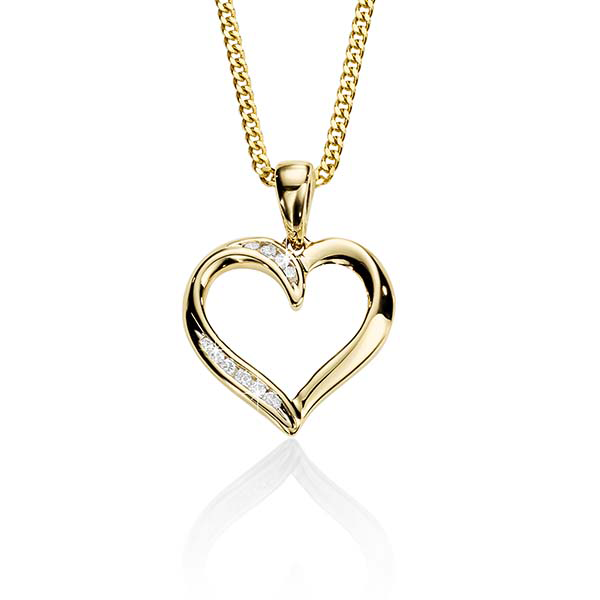 9ct Yellow Gold 0.03ct Channel Set Diamond Open Heart Pendant