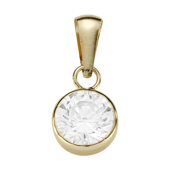 9ct Gold Bezel Set Round 6mm Cubic Zirconia Pendant