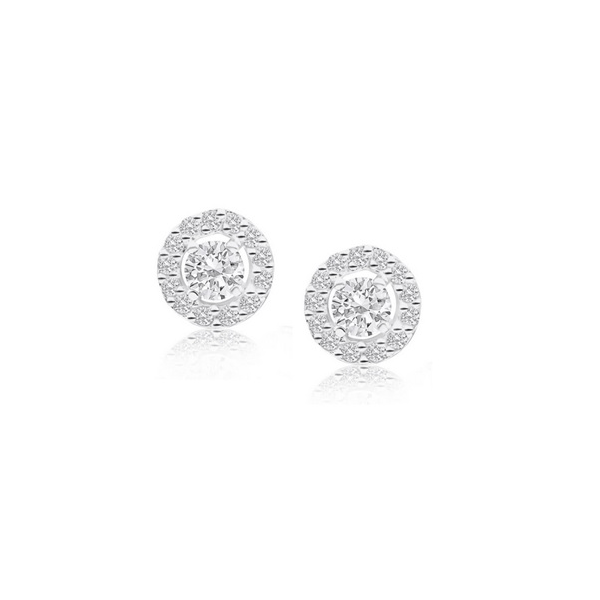 9ct White Gold 4 Claw Set Cubic Zirconia With Pave Surround Stud Earrings