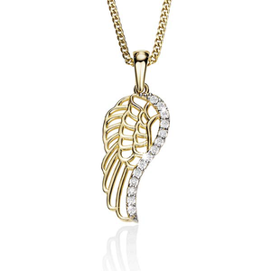 9ct Cubic Zirconia Set Filigree Wing Pendant