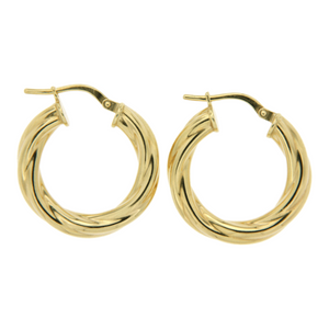 Yellow Gold Gold-Bonded 15mm Twist Hoop Earrings