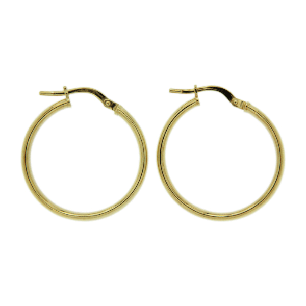 Gold-Bonded 4mm 20mm High Dome Hoop Earrings