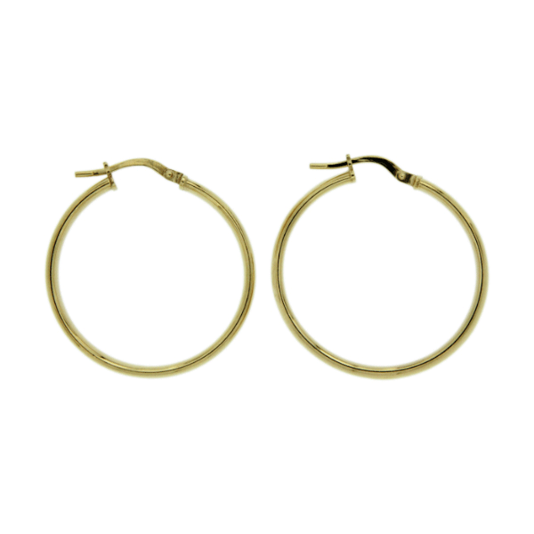 Yellow Gold Gold-Bonded 4mm 25mm High Dome Hoop Earrings