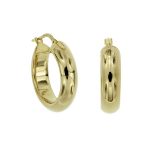 Yellow Gold Gold-Bonded 5mm 15mm Polished Half Round Hoop Earrings