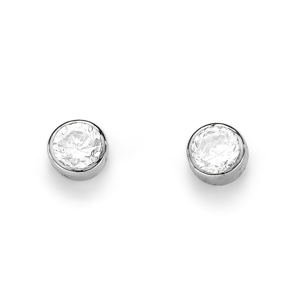 9ct White Gold Bezel Set 4mm Cubic Zirconia Stud Earrings
