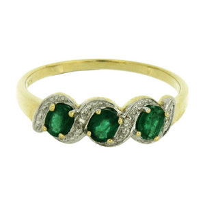 Claw Set 3 Stone Oval Emerald & Pave Diamond Ring