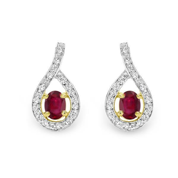 Yellow Gold Claw Set Pear Shaped Ruby & Pave Diamond Surround Studs