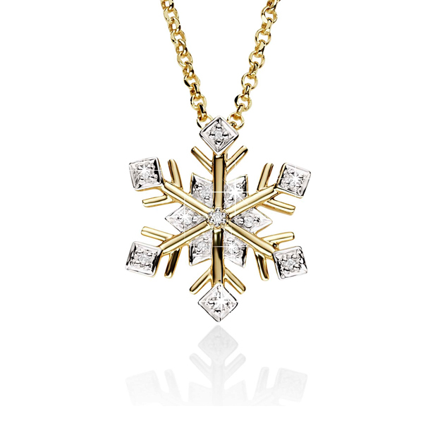 9ct 0.03ct Pave Diamond Set Snowflake Slider Pendant