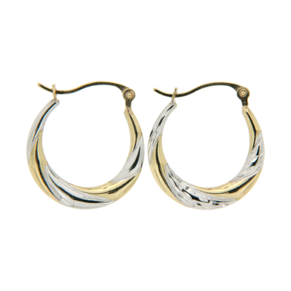 2 Tone 15mm Diamond Cut Tapered Hoop Earrings