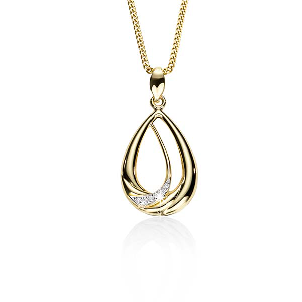 9ct Diamond Set Double Pear Shaped Pendant