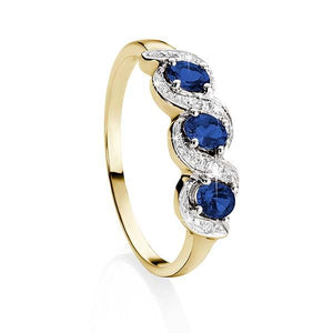 9ct Yellow Gold Claw Set 3 Stone Oval Sapphire & Pave Diamond Ring