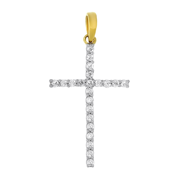 Yellow Gold 0.12ct Claw Set Diamond Cross Pendant