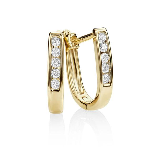 9ct Yellow Gold 0.15ct Channel Set Oval Diamond Huggies (Tlb P1-2)