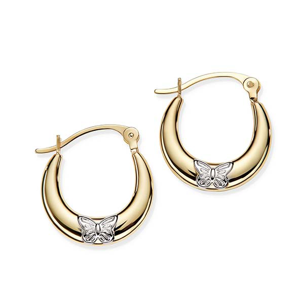 9ct Bonded 2 Tone 10mm Tapered Butterfly Hoop Earrings