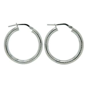 Sterling Silver 30mm Tiger Stripe Tube Hoops