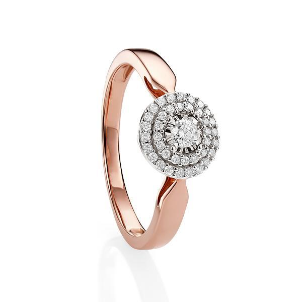 9ct Rose Gold 0.22ct Claw Set Miracle Plate With Double Halo Diamond Ring