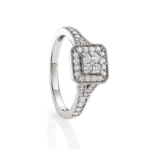 9ct White Gold 0.50ct Multi Diamond Ring With Diamond Set Halo And Split Shoulders (Promo Ijk P1/2)