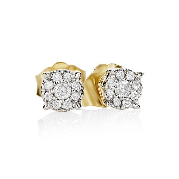 9ct Yellow Gold 0.10ct Diamond Set Cluster Studs