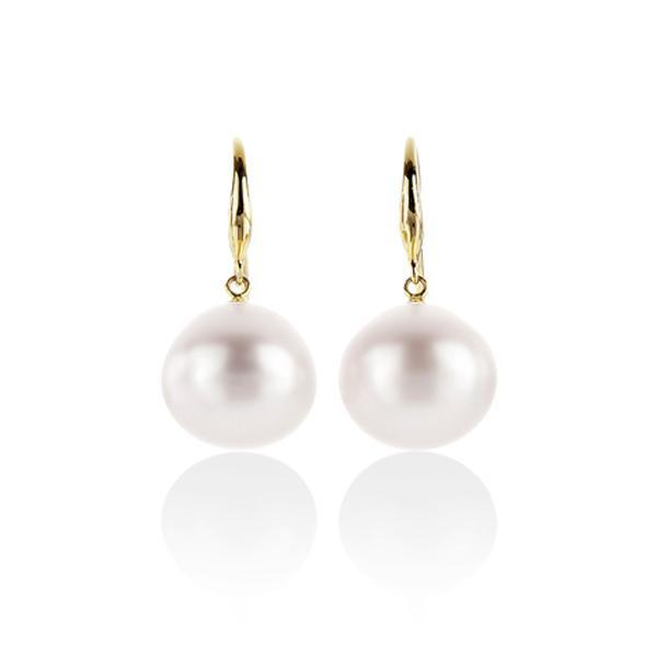 9ct Yellow Gold South Sea Pearl 12-14mm Shepherd Hook Earrings