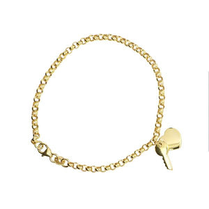 Yellow Gold 19Cm Belcher With Polished Key To My Heart Charm Bracelet