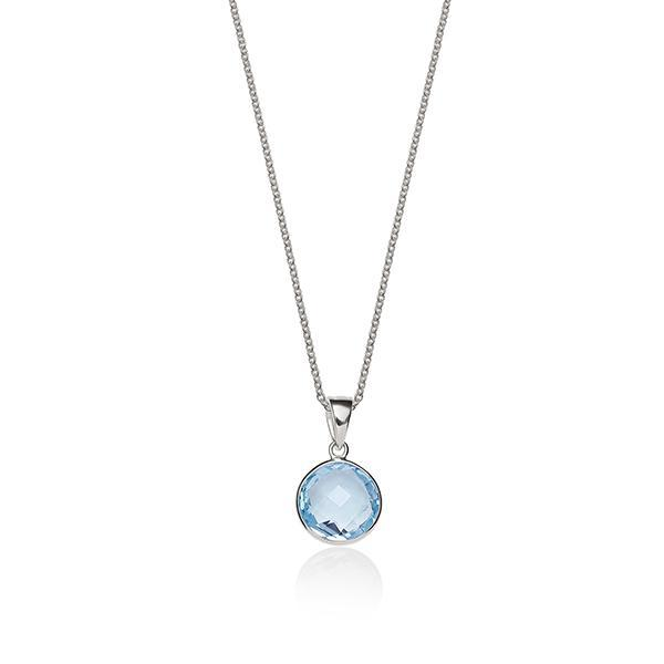 Sterling Silver Bezel Set Round Blue Topaz Pendant With 45Cm Chain