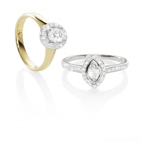 18ct Gold 0.70ct Tdw Diamond Claw Set Halo Ring. Diamond Breakdown: 1X 0.55ct, 16=0.15ct. Hi/P1 Size Q