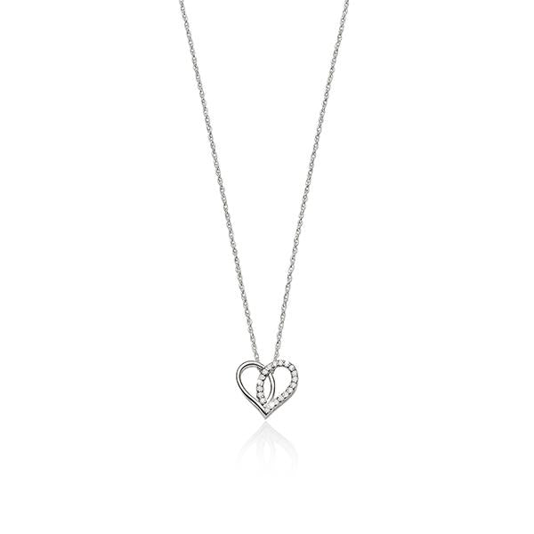 Sterling Silver Cubic Zirconia Open Heart Necklace 45Cm