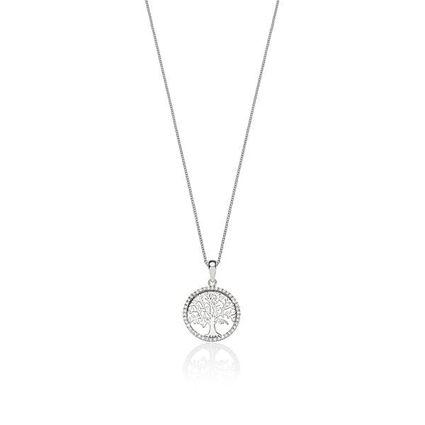 Sterling Silver Cubic Zirconia (CZ) Tree Of Life Necklace
