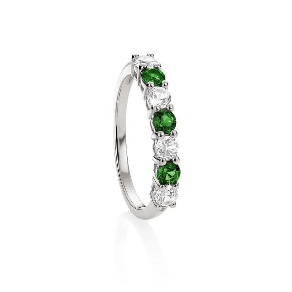S/S cr^ emerald & cr^ white sapphire eternity ring
