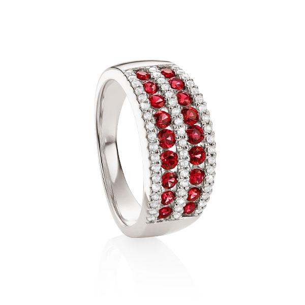 S/S cr^ ruby  & cr^ white sapphire ring