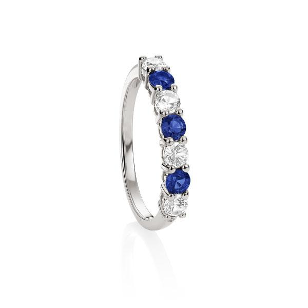 Sterling Silver Created Blue & Created White Sapphire Eternity Ring