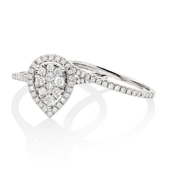 18ct white gold 0.75ct+ diamond cluster ring