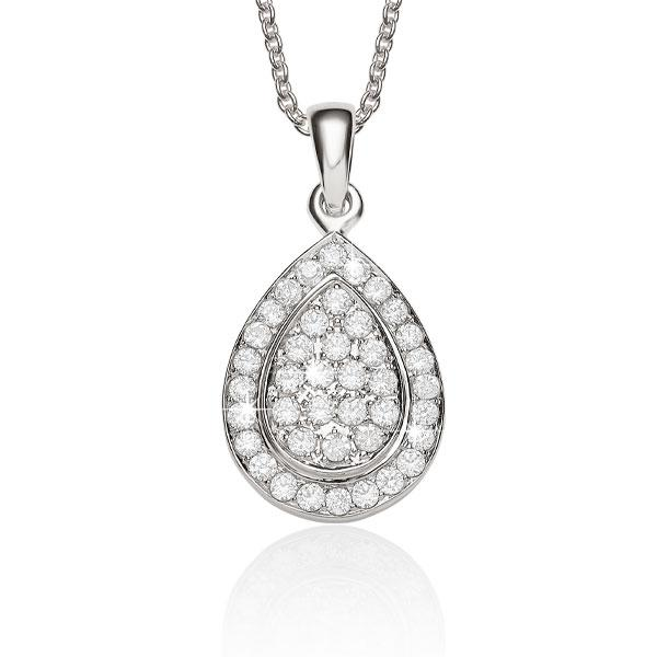 9ct White Gold Pear Shape Cluster Pendant Rbc=0.36ct*
