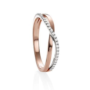 9ct Rose Gold Cubic Zirconia Cross Over Ring