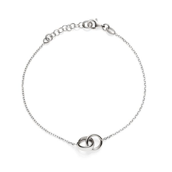 Sterling Silver Rh Double Rings Bracelet