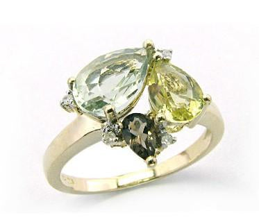 9ct Yellow Gold Multi-Color (Green Am, Lemon Quartz, Smoky Quartz) & Diamond Ring