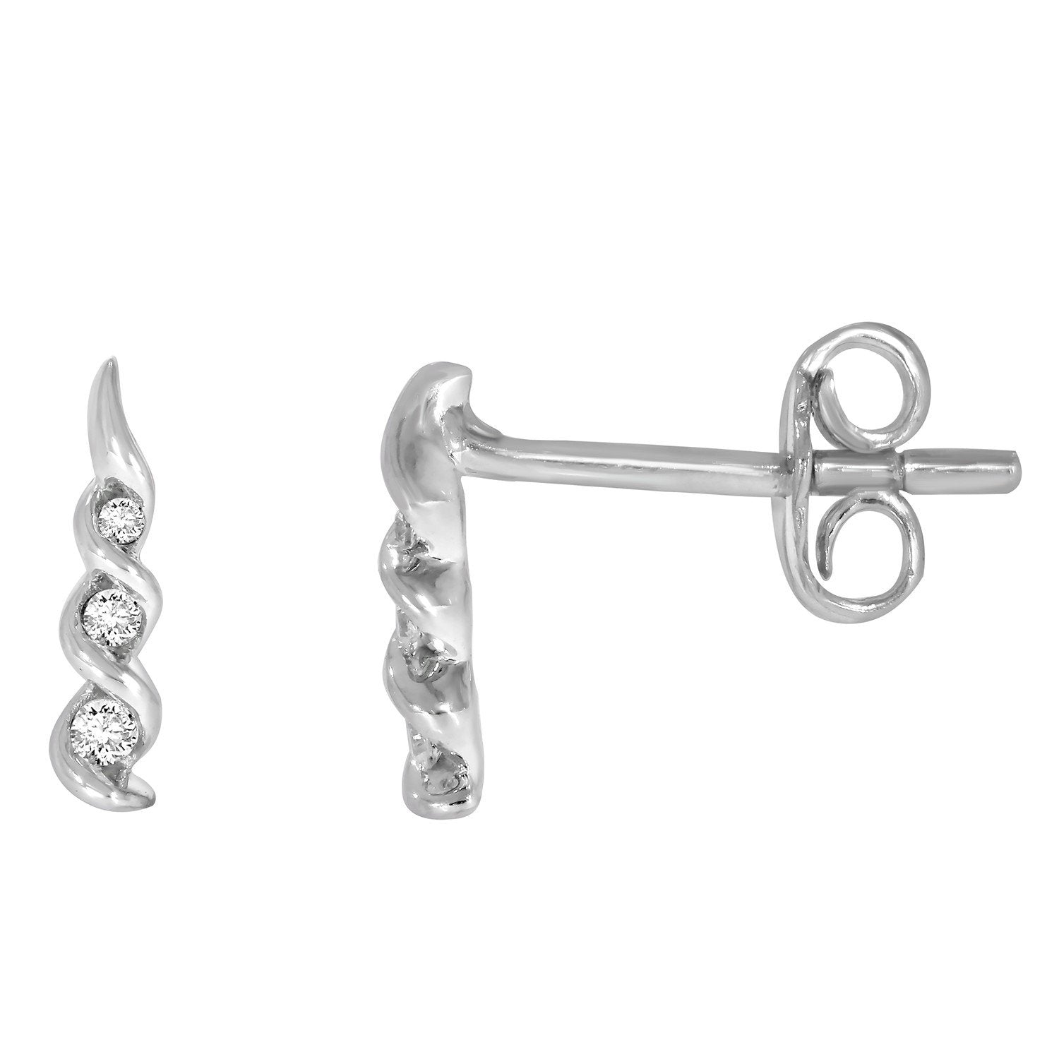 9ct White Gold 3 Stone Diamond 0.05ct (Owlb) Swirl Earrings