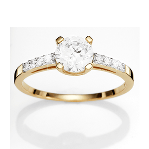 9ct Gold Claw Set Cubic Zirconia Ring With Pave Set Shoulders