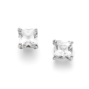 Sterling Silver 6mm Square Cubic Zirconia Studs